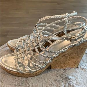 🔥🤍Kate Spade NY🤍 metallic cork wedge sandals